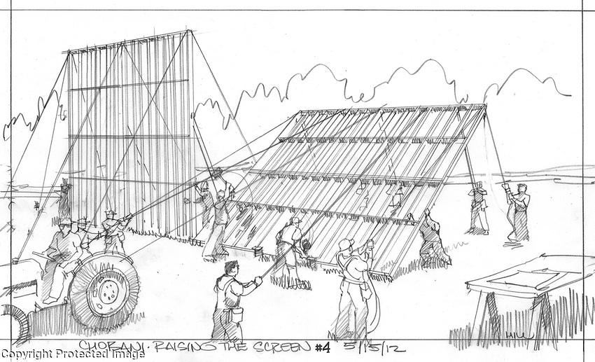 This commercial featured a small community of farmers erecting a screen in the field so they could watch the olympics.