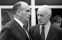 Harry West, left, with Austin Ardill, both members of the N Ireland Assembly, in discussion, following a 23rd October 1973 meeting of the Ulster Unionist Party&rsquo;s Standing Committee which met to consider participation in a power-sharing assembly. 197310230662a<br />