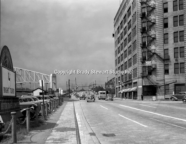 Pittsburgh PA:  View looking North on Water Street toward the Point and Manchester Bridges - 1935