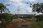 WM-Stadion in Durban, Suedafrika, Baustelle des Moses Mabhiida football stadium