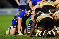Cameron Neild of Sale Sharks looks on at a scrum. European Rugby Challenge Cup quarter final, between Sale Sharks and Montpellier on April 8, 2016 at the AJ Bell Stadium in Manchester, England. Photo by: Patrick Khachfe / JMP