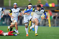Matt Banahan of Bath Rugby goes on the attack. Aviva Premiership match, between Saracens and Bath Rugby on January 30, 2016 at Allianz Park in London, England. Photo by: Patrick Khachfe / Onside Images