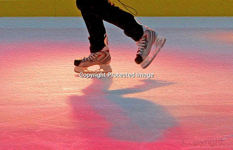 Ice skating at San Francisco Embarcadero center.