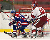 Derek Arnold (UML - 29), Jimmy Vesey (Harvard - 19) - The visiting University of Massachusetts Lowell River Hawks defeated the Harvard University Crimson 5-0 on Monday, December 10, 2012, at Bright Hockey Center in Cambridge, Massachusetts.