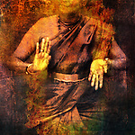 Hands in dance for Shiva with give and take mudra showing prana. Photo based illustration