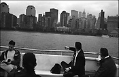 In the aftermath of the September 11th 2001 terrorist attack on the World Trade Centre buildings by AL-Qaeda terrorists the once iconi skyline view of lower Manhattan was dramatically changed, most noticable by commuters on the ferries that service the lower island, New York, United States of America.