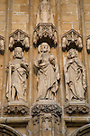 Figures above main entrance at St Baakskathedraal - Bavo Cathedral, Ghent, Belgium, Europe