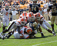 The Bowling Green defense gangs up on Pitt running back LeSean McCoy.  The Bowling Green Falcons defeated the Pitt Panthers 27-17 on August 30, 2008 at Heinz Field, Pittsburgh, Pennsylvania.