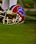 7 December 2008: A Buffalo Bills helmet lies on the turf on the sidelines prior to a game against the Miami Dolphins in the first regular season NFL game ever to be played in Canada. The Dolphins defeated the Bills 16-3 at the Rogers Centre in Toronto, Ontario. ..Mandatory Photo Credit: Ed Wolfstein Photo