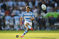 Nicolas Sanchez of Argentina kicks for the posts. Rugby World Cup Pool C match between Argentina and Tonga on October 4, 2015 at Leicester City Stadium in Leicester, England. Photo by: Patrick Khachfe / Onside Images