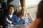 Paul and Linda McCartney tour bus 1970s UK.