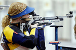 COLUMBUS, OH - MARCH 11:  Ginny Thrasher, of West Virginia University, competes during the Division I Rifle Championships held at The French Field House on the Ohio State University campus on March 11, 2017 in Columbus, Ohio. Thrasher finished seventh in the individual finals with a score of 99.7. (Photo by Jay LaPrete/NCAA Photos via Getty Images)