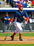 4 March 2009: Washington Nationals' first baseman Nick Johnson hits a first inning home run during a Spring Training game against the New York Mets at Space Coast Stadium in Viera, Florida. The Nationals rallied to defeat the Mets 6-4 . Mandatory Photo Credit: Ed Wolfstein Photo