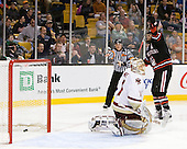 John Muse (BC - 1), John Gravallese, Wade MacLeod (Northeastern - 19) - The Boston College Eagles defeated the Northeastern University Huskies 5-4 in their Hockey East Semi-Final on Friday, March 18, 2011, at TD Garden in Boston, Massachusetts.