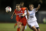 20 October 2013: Clemson's Gabby Byorth (27) and North Carolina's Alexa Newfield (88). The University of North Carolina Tar Heels hosted the University of Virginia Cavaliers at Fetzer Field in Chapel Hill, NC in a 2013 NCAA Division I Women's Soccer match. North Carolina won the game 2-0.