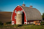 Red barn and old truck in the Palouse Valley