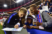 Atlanta, GA - Sunday Sept. 18, 2016: Alex Morgan, fans after a international friendly match between United States (USA) and Netherlands (NED) at Georgia Dome. The United States defeated the Netherlands 3-1.