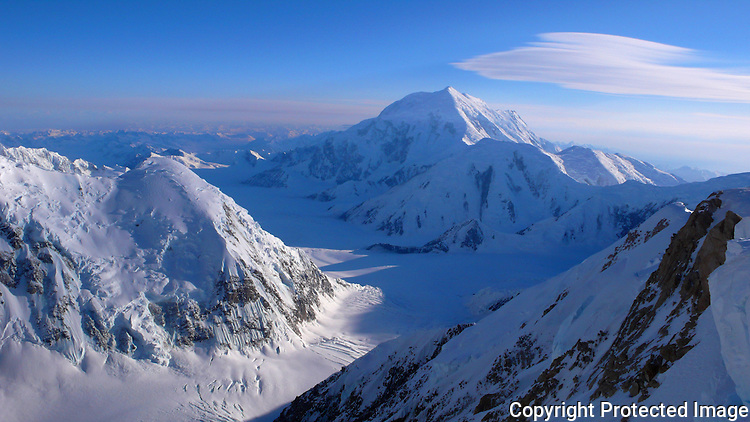 Mount Foraker and the Kahiltna Glacier from Denali's West Buttress route, Alaska Range.