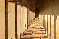 Afternnon shadows in a hallway at Angkor Wat