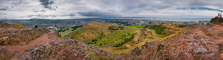 Panorama of West Edinburgh, including North and Leith, from the summit of Arthur's Seat, one of the so-called seven hills of Edinburgh..Arthur's Seat rises to 251 meters (823 ft) providing amazing views towards the city to the West and East Lothian to the East. It is located within Holyrood Park.