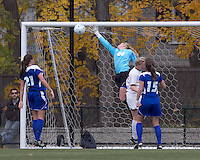 Long volley shot eludes Hofstra University goalkeeper Krista Thorn (0). Boston College defeated Hofstra University, 3-1, in second round NCAA tournament match at Newton Soccer Field, Newton, MA.