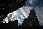 Silhouette of the Empire State Building against a blue sky, NYC