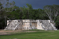The Temple of Venus, square platform, four meters high, each side measures 25 meters and has a staircase ending with two serpent heads, 1100-1300 AD, Toltec Architecture, Chichen Itza, Yucatan, Mexico. Picture by Manuel Cohen