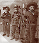 Vintage Image.kids as cowboys &amp; Indians, dated 1911.play, boys, kids, guns, toys.