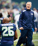 Seattle Seahawks head coach Pete Carroll talks to his players before  their game against the  St. Louis Rams  at CenturyLink Field in Seattle, Washington on December 29, 2013.  Seahawks clinched the NFC West title and home-field advantage throughout the playoffs with a 27-9 victory over the St. Louis Rams. ©2013. Jim Bryant Photo. ALL RIGHTS RESERVED.
