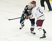 Austin Wuthrich (ND - 27), Michael Matheson (BC - 5) - The visiting University of Notre Dame Fighting Irish defeated the Boston College Eagles 7-2 on Friday, March 14, 2014, in the first game of their Hockey East quarterfinals matchup at Kelley Rink in Conte Forum in Chestnut Hill, Massachusetts.