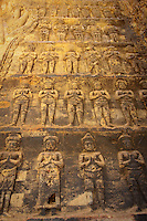 Brick bas relief carvings inside  Prasat Kravan, one of the ancient temples of Angkor, Cambodia