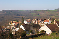 view over village from winery dom e monnot & f santenay cote de beaune burgundy france