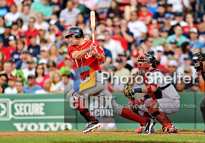 9 June 2012: Washington Nationals third baseman Ryan Zimmerman in action against the Boston Red Sox at Fenway Park in Boston, MA. The Nationals defeated the Red Sox 4-2 in the second game of their 3-game series. Mandatory Credit: Ed Wolfstein Photo