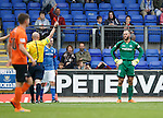 St Johnstone v Dundee United...26.09.15  SPFL   McDiarmid Park, Perth<br /> Referee Bobby Madden sends off Alan Mannus<br /> Picture by Graeme Hart.<br /> Copyright Perthshire Picture Agency<br /> Tel: 01738 623350  Mobile: 07990 594431