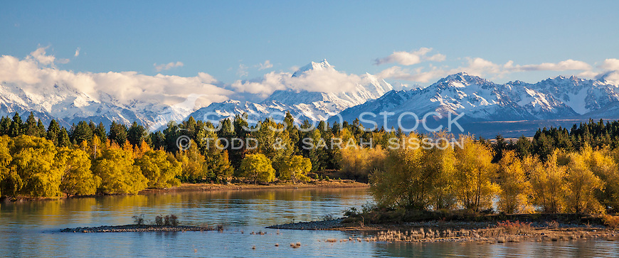 Aoraki / Mt Cook seen from the eastern side Lake Pukaki, Autumn, McKenzie Country, New Zealand - stock photo, canvas, fine art print