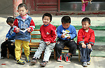 Asia, China, Beijing. Chinese kindergarten children in Hutongs of Beijing.