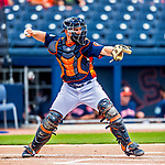 1 March 2017: Houston Astros catcher Max Stassi in Spring Training action against the Miami Marlins at the Ballpark of the Palm Beaches in West Palm Beach, Florida. The Marlins defeated the Astros 9-5 in Grapefruit League play. Mandatory Credit: Ed Wolfstein Photo *** RAW (NEF) Image File Available ***