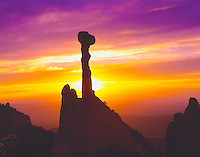 """Spire at sunset, Proposed La Sal Waters Wilderness, Utah  Called """"the Olympic Torch"""" or """"Elvis' Hammer""""   Near Moab, Utah"""