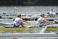 Hamilton, NEW ZEALAND.  GBR W2- Bow Helen GLOVER and Heather STANDING. 2010 World Rowing Championship on Lake Karapiro Monday  01/11/2010. [Mandatory Credit Peter Spurrier:Intersport Images].