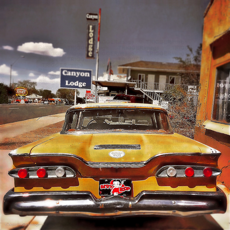 Vintage americana 50's car with fins