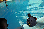 Sudanese kids and an Israeli kid enjoy the pool, in a hotel in Be'er Sheva, Israel.<br />