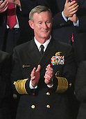 Admiral William McRaven, U.S. Navy, Commander, Joint Special Operations Command (JSOC), applauds prior to United States President Barack Obama delivering his State of the Union Address to a Joint Session of Congress in the U.S. Capitol in Washington, D.C., Tuesday, January 24, 2012.  Adm. McRaven attended the speech as a guest of first lady Michelle Obama..Credit: Ron Sachs / CNP