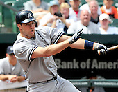 New York Yankees first baseman Mark Teixeira (25) singles in the first inning against the Baltimore Orioles at Oriole Park at Camden Yards in Baltimore, Maryland in the first game of a doubleheader on Sunday, August 28, 2011.  .Credit: Ron Sachs / CNP.(RESTRICTION: NO New York or New Jersey Newspapers or newspapers within a 75 mile radius of New York City)