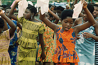 Girls dancing at an official public ceremony in Ho, Ghana, Africa.
