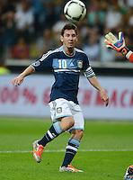 FUSSBALL Nationalmannschaft Freundschaftsspiel:  Deutschland - Argentinien             15.08.2012 Lionel Messi (Argentinien) am Ball