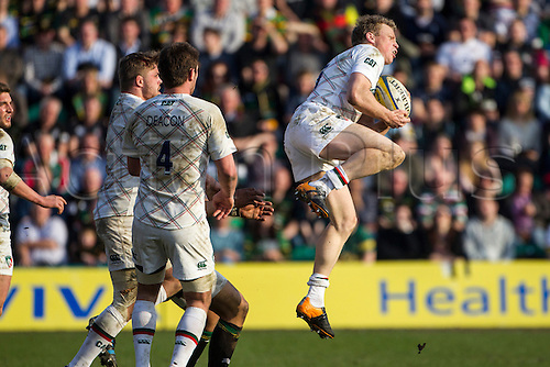 29.03.2014.  Northampton, England.  Scott HAMILTON of Leicester Tigers collects a high ball during the Aviva Premiership match between Northampton Saints and Leicester Tigers at Franklin's Gardens.  Final score: Northampton Saints 16-22 Leicester Tigers.