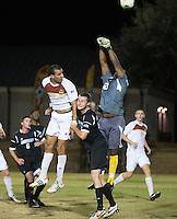 The Winthrop University Eagles beat the UNC Asheville Bulldogs 4-0 to clinch a spot in the Big South Championship tournament.  Zak Davis (23), Achille Obougou (7), Cole Schwietering (20)