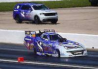 May 21, 2016; Topeka, KS, USA; NHRA funny car driver Jack Beckman during qualifying for the Kansas Nationals at Heartland Park Topeka. Mandatory Credit: Mark J. Rebilas-USA TODAY Sports