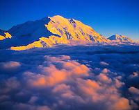 Denali (Mount Mckinley) above Clouds, Denali National Park & Preserve, Alaska    Aerial view at sunset  20320 Fet