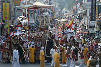 Sri Lanka. The annual pageant, the Kandy Perahera, culminates with a procession during the day. Elephants, dancers, drummers and flag bearers leave from and retrun to the Dalada Maligawa or Temple of the Tooth. The city of Kandy is in the hill country, 72 miles or 130 km from Colombo.